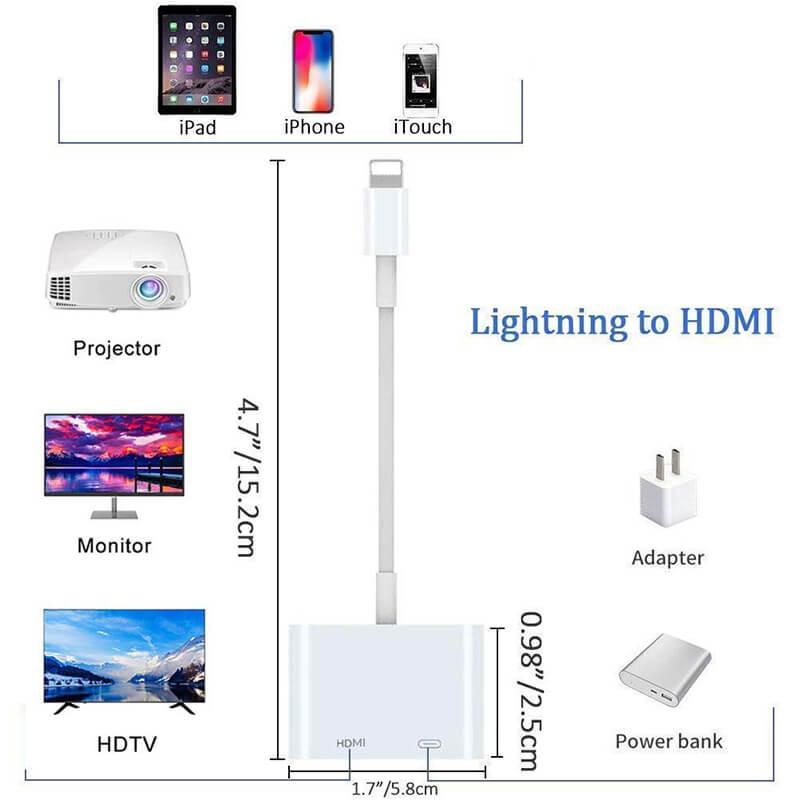 کابل تبدیل لایتنینگ به HDMI (دیجیتال AV) اپل اصلی (اورجینال اپل استور)