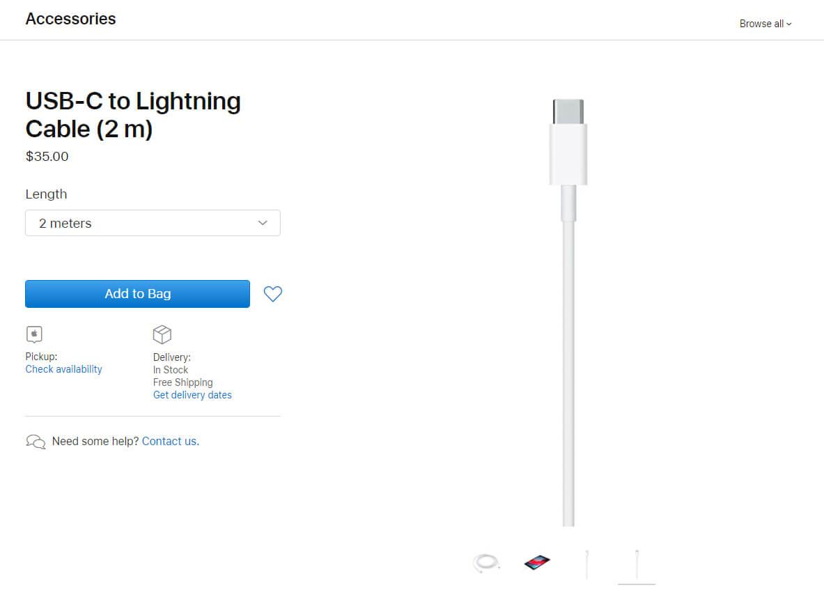 کابل شارژ (تبدیل) Type-C به لایتنینگ اپل اصلی (اورجینال اپل استور)
