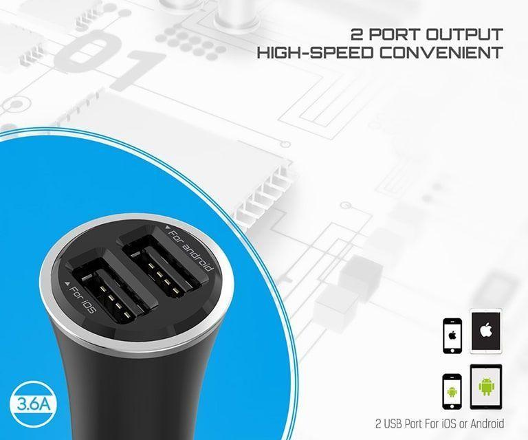 شارژر فندکی الدینیو مدل C28 دارای 2 پورت با کابل میکرو USB