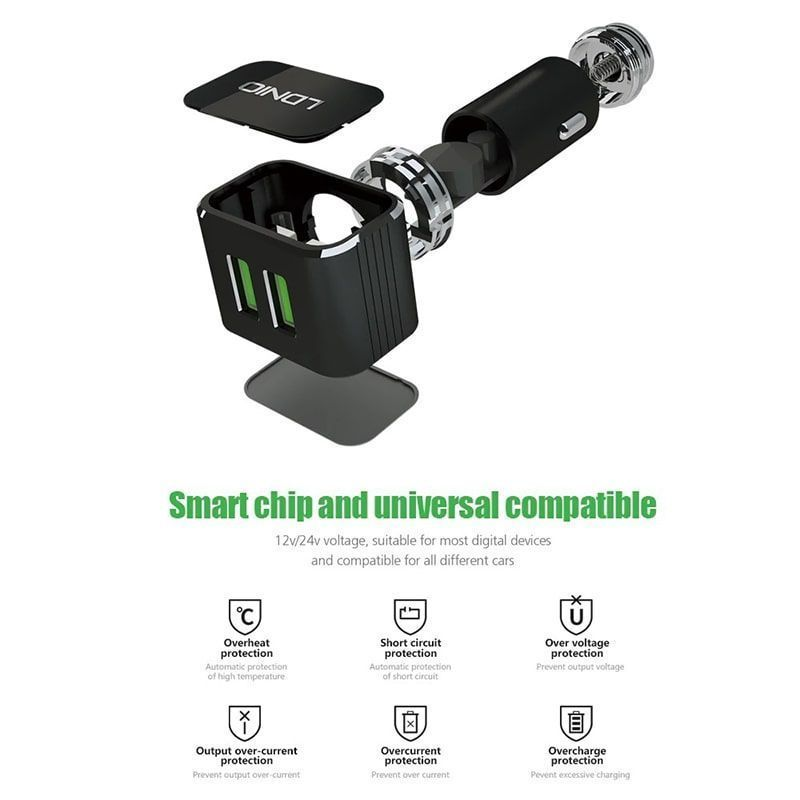 شارژر فندکی الدینیو مدل C306 با کابل میکرو USB و لایتنینگ