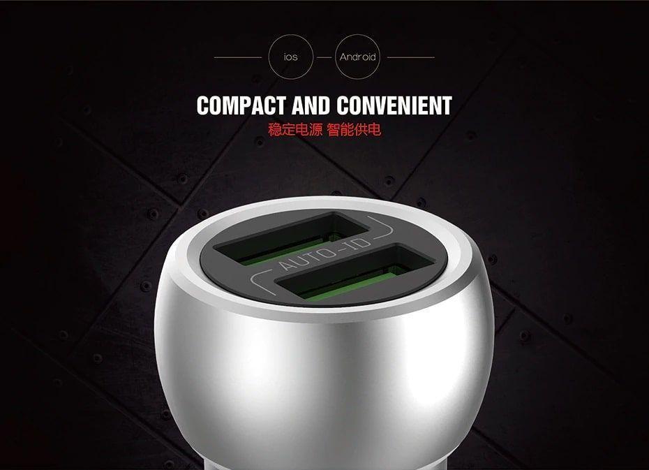 شارژر فندکی الدینیو مدل C401 دارای دو پورت با کابل میکرو USB