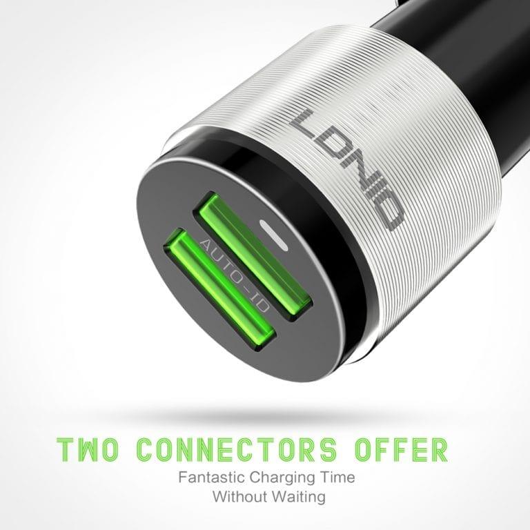 شارژر فندکی الدینیو مدل C403 Q دارای دو پورت فست شارژ با کابل میکرو USB