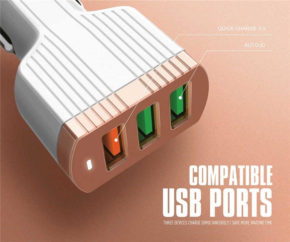شارژر فندکی الدینیو مدل C702Q دارای 3 پورت فست شارژ با کابل میکرو USB و Type-C