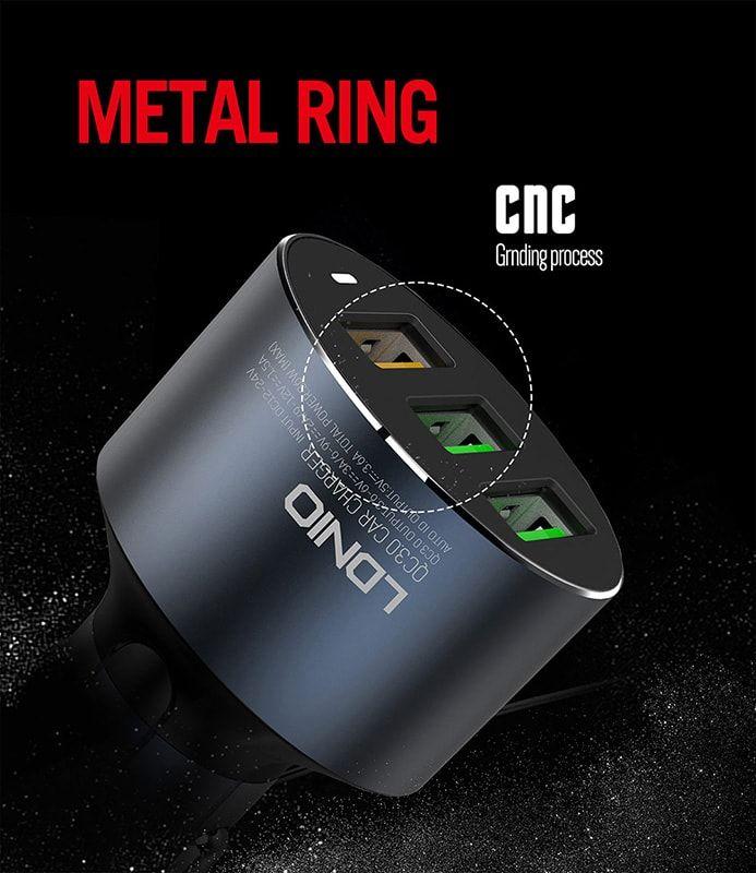 شارژر فندکی الدینیو مدل C703Q دارای 3 پورت فست شارژ با کابل میکرو USB