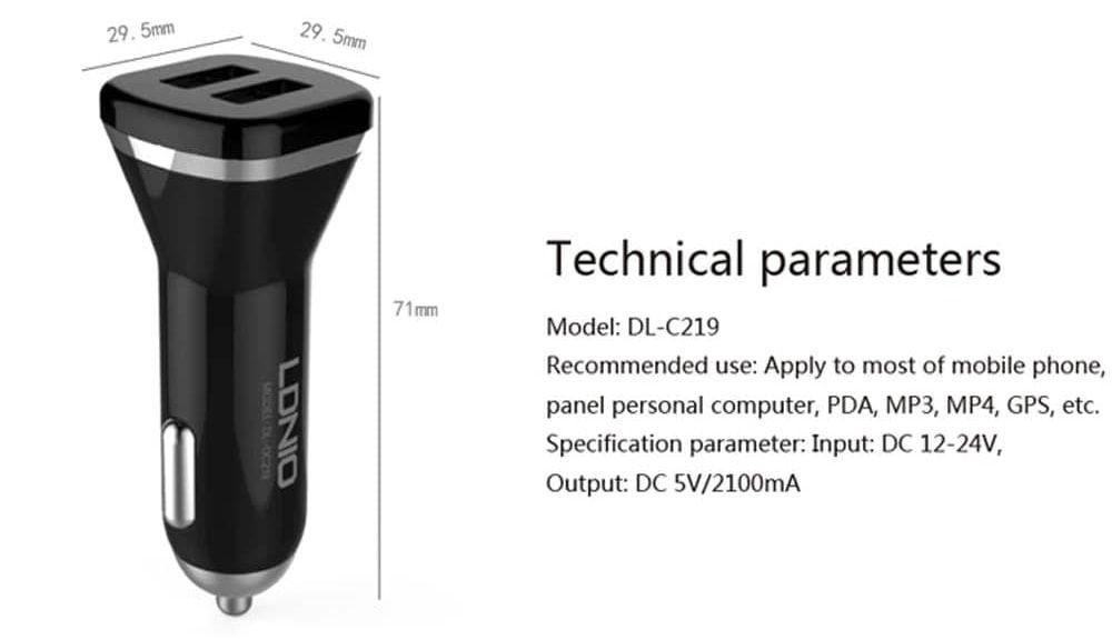 شارژر فندکی الدینیو مدل DL-C219 با کابل میکرو USB