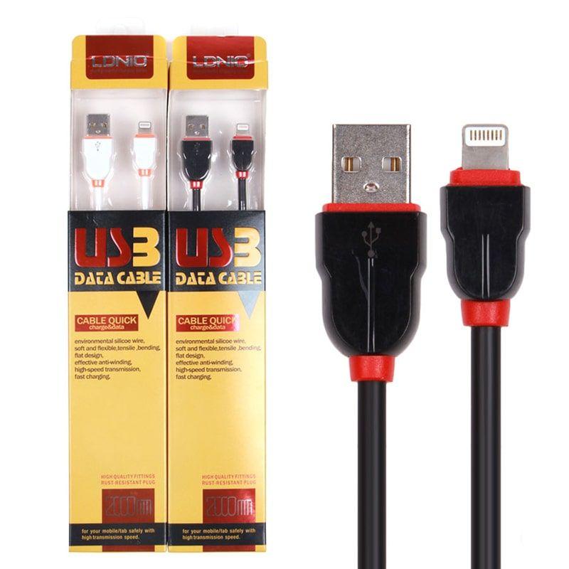 کابل شارژ (تبدیل) USB به لایتنینگ الدینیو مدل LS02 به طول 2 متر