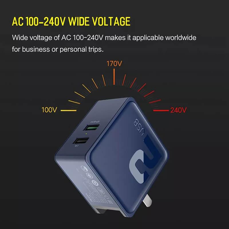 شارژر دیواری راک مدل Sugar فست شارژ QC3.0 دارای 2 پورت