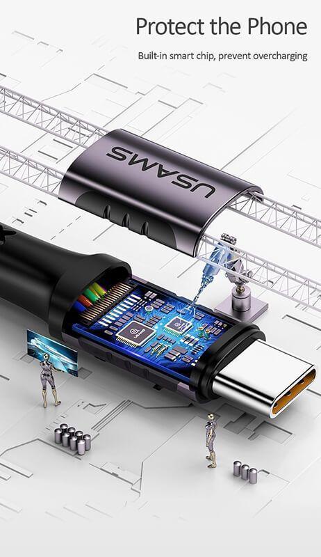 کابل شارژ (تبدیل) Type-C به Type-C یوسامز مدل Sj290 u25 به طول 2 متر