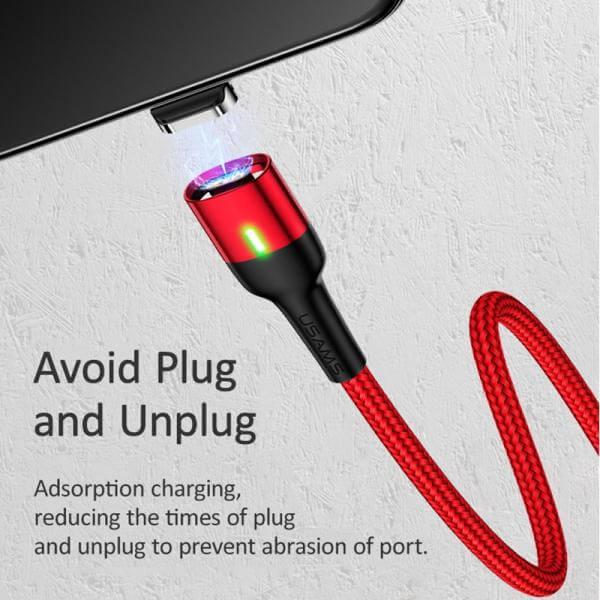 کابل شارژ (تبدیل) مغناطیسی USB به لایتنینگ یوسامز مدل US-SJ۳۲۶ به طول ۱ متر