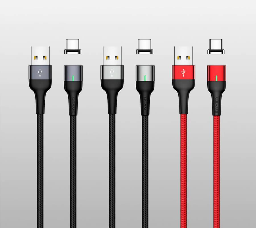 کابل شارژ (تبدیل) مغناطیسی USB به Type-C یوسامز مدل US-SJ327 به طول ۱ متر