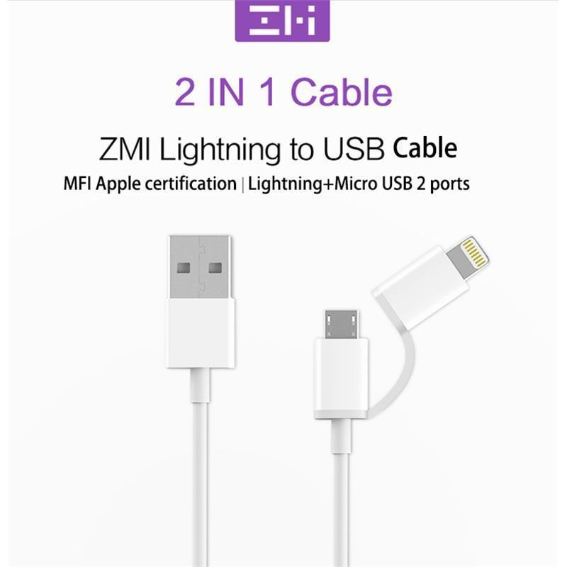 کابل شارژ (تبدیل) دو کاره USB به microUSB و Lightning زد ام آی مدل AL801