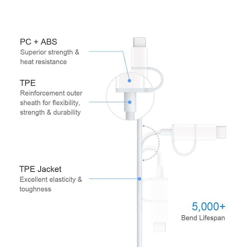 کابل تبدیل دو کاره USB به microUSB و Type-C شیائومی مدل AL501
