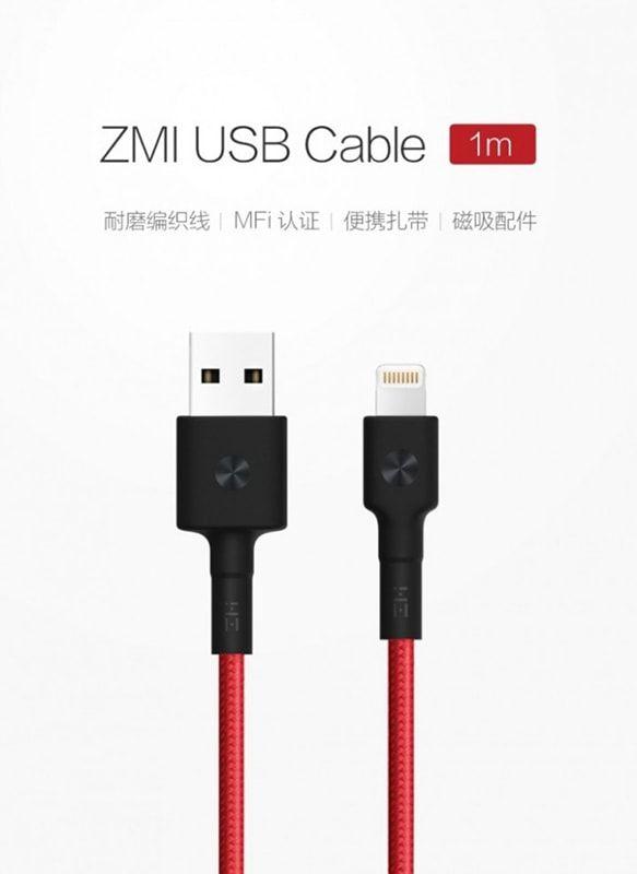 کابل شارژ (تبدیل) USB به لایتنینگ شیائومی مدل ZMI AL805 به طول 1 متر